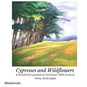 "PRINT – ""CYPRESSES AND WILDFLOWERS"" 8x8"